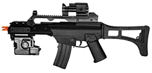 Electric Powered Combat Elite Arms G36 Open Stock FPS-240 Airsoft Gun, Flashlight, Gun Strap, Mock Sight