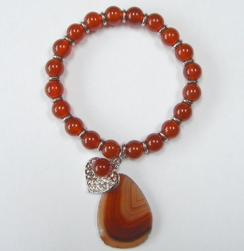 Semi-Precious Stone Bracelet with a Lucky Charm - Agate
