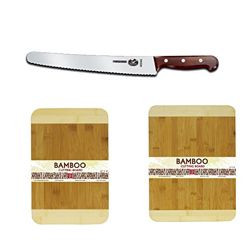 Victorinox 47040 10-1/4-Inch Wavy Edge Bread Knife W/ Rosewood Handles + Hds Trading Cutting Board Bamboo 12X16 Bamboo Finish + Accessory Kit