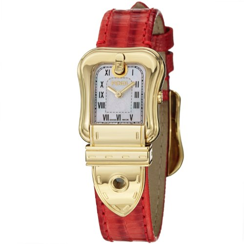 Fendi B. Fendi Ladies Red Leather Strap Yellow Gold Plated Watch F373247