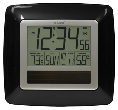 Cheap La Crosse Technology WT-8112U-BK Solar Atomic Digital Clock with Indoor Temperature, Humidity (WT-8112U-BK)
