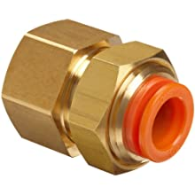 SMC KQ2E PBT One-Touch Tube Fitting, Bulkhead Coupling, Tube OD x NPT Male with Brass Threads