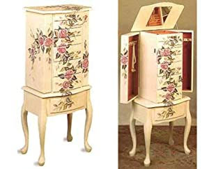 Wood Jewelry Armoire Dresser/chest with Hand Painted Floral Accents and Queen Anne Based Legs