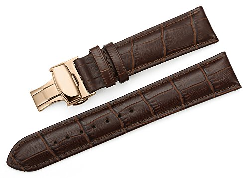 iStrap 22mm Calf Leather Watch Band Strap W/ Rose Gold Steel Push Button Deployment Buckle Brown (Leather Watch Band For Omega compare prices)