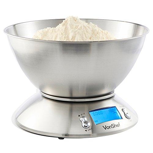 VonShef Balance de Cuisine Electronique avec bol jusqu' à 5kg/11lb