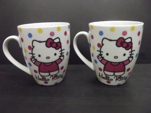 Paperproducts Design 601173 Gift Box Porcelain Mugs, 14-Ounce, Hello Kitty Polka Dot Kitty, Set Of 2
