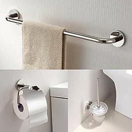WCK asciugamano bar in acciaio inox 3 pezzi accessori bagno set e portarotolo e porta scopino