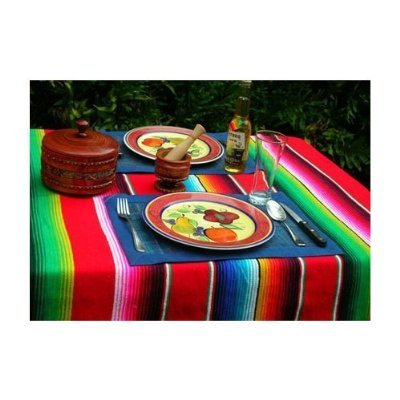 Image of Large Authentic Mexican Saltillo Sarape Blanket with Assorted Bright Colors