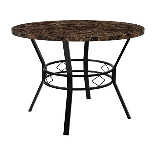 "Flash Furniture Tremont 42"" Round Dining Table in Espresso Marble-Like Finish"