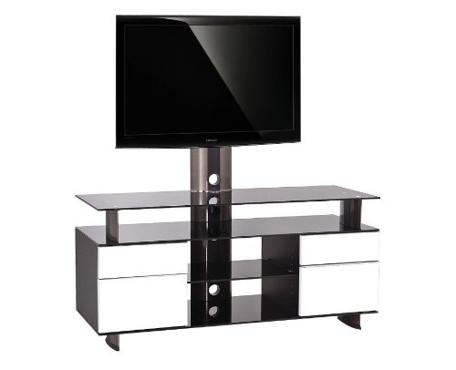 nabila shop meuble tv design 120 cm noir et blanc gld 120 h ibw. Black Bedroom Furniture Sets. Home Design Ideas