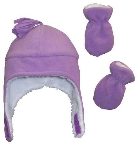 N'Ice Caps Little Girls and Baby Soft Sherpa Lined Micro Fleece Pilot Hat and Mitten Set (3-6 Months, Light Purple Infant)