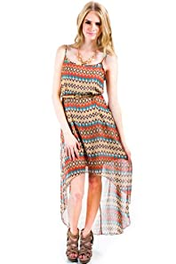 Sheer Long Tail Hi Low Dress Tribal Stripes in Multicolour