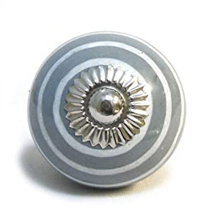 Striped Cupboard Door Knob Colour: Grey/White by Pushka Knobs