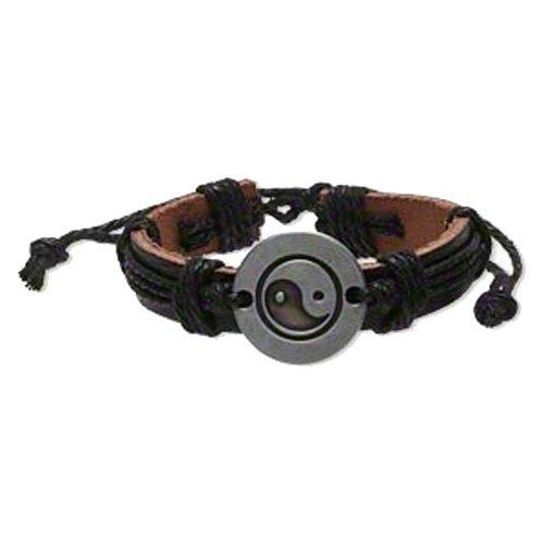 Leather Yin Yang Bohemian Punk Surf Wristband Cuff Slip Knot Bracelet
