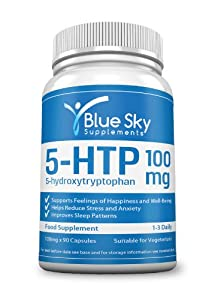 BEST 5 HTP 100mg x 90 Capsules For Depression, Anxiety, Insomnia, PMS, Migraine Relief. 100% Natural Serotonin Increase To Promote Happiness & Well-Being. Premium Quality From Griffonia Simplicifolia Seed Powder Supplement. 1 Months Supply. UK Made. RRP £22.99 Save Money When You Buy Today!
