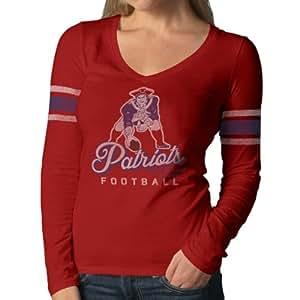 NFL New England Patriots Women's Homerun Long Sleeve Tee, Medium, Rescue Red
