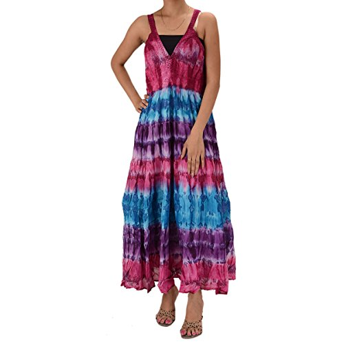 Skirts & Scarves Cotton Tie N Dye Printed sleeveless Lace Work Dress For Women (Pink)