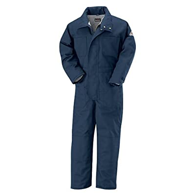Bulwark Flame Resistant 7 oz Twill Cotton/Nylon Excel FR ComforTouch Regular Premium Insulated Coverall with Concealed Snap Closure, Navy, Medium