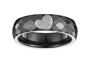 Ceranity - 1-12/0024-N-52 - Bague Femme - Coeur Plein - Argent 925/1000 0.4 gr - Oxyde de zirconium - Céramique - Blanc - T 52