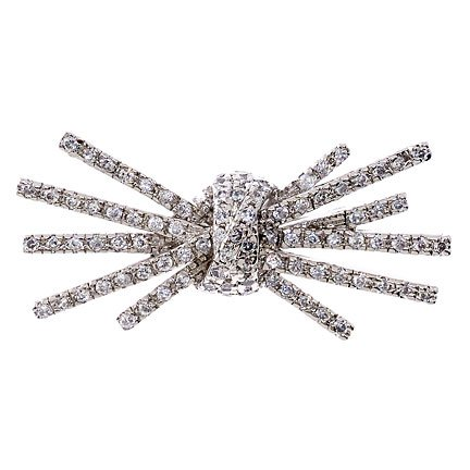 C.Z. Diamond Sterling Silver Knot Burst Brooch Pin (Nice Holiday Gift, Special Black Firday Sale)