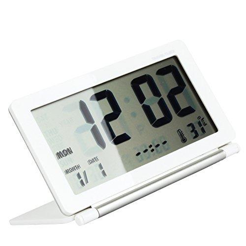 Eway Multifunction Silent LCD Digital Large Screen Travel Desk Electronic Alarm Clock, Date/Time/Calendar/Temperature Display, Snooze, Folding(White&Silver)