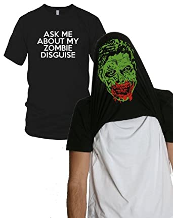 Ask Me About my Zombie Diguise Funny Flip-Up t Shirt S