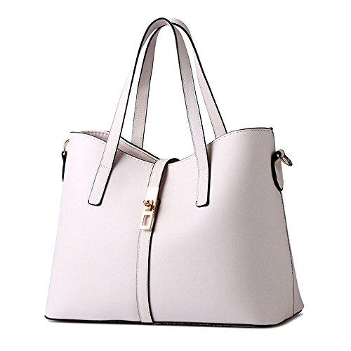 koson-man-womens-pu-leather-sling-vintage-zipper-decorate-tote-bags-top-handle-handbagwhite