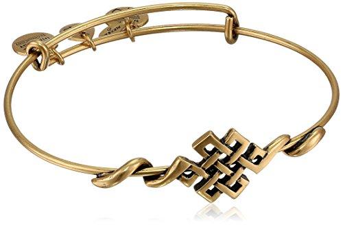 "Alex and Ani ""Spiritual Armor"" Endless Knot Rafaelian Gold Finish Expandable Wire Bangle Bracelet"