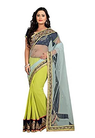 Fabdeal Turquoise Coloured Net Embroidered Saree/Sari available at Amazon for Rs.2999