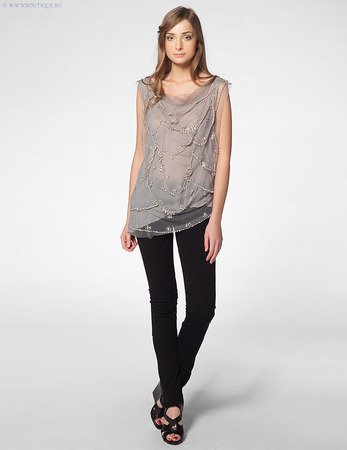 Alice and Oliva Grey Beaded January Top, X-Small