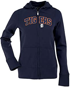 Detroit Tigers Applique Ladies Zip Front Hoody Sweatshirt (Team Color) by Antigua
