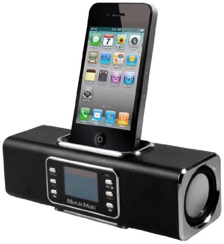 MusicMan  Wireless Soundstation BT-X1 (MP3 Player, FM Radio ,Bluetooth, LCD Display, USB, MicroSD Kartenslot, Line-In, Docking & austauschbarer, wiederaufladbarer Akku) schwarz