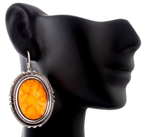 Ladies Yellow and Silver Oval Shaped Stone Drop Earrings