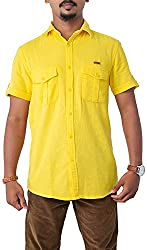 Passion Men's Slim Fit Casual Shirt (FS4978SYLHS, Yellow, Small)