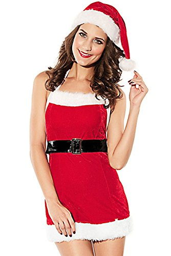 Tengfurich Belt Dress Hat Bust Costume Santa Sexy Women's