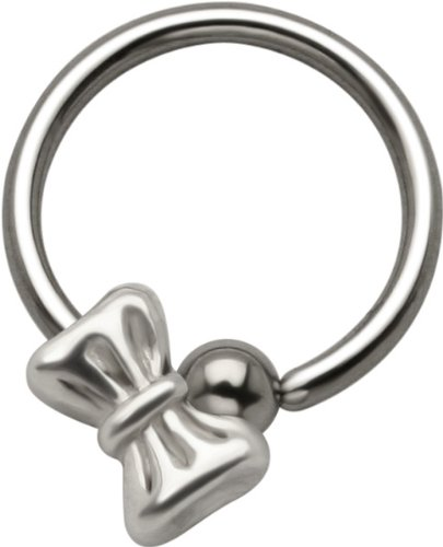 Bowtie - 925 Sterling Silver Sliding Charm Captive Bead Ring - 16 Gauge