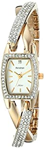 Armitron Women's 75/5242SVTT Swarovski Crystal Accented Organic Shaped Two-Tone Bangle Watch