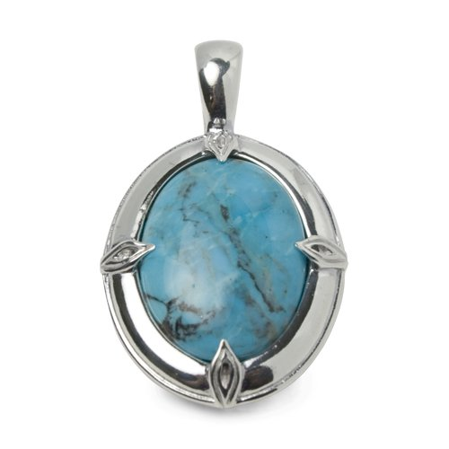 Southwest Spirit Sterling Silver Kingman Turquoise Blue with Black Matrix Pendant Enhancer