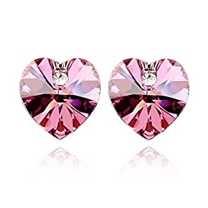 NEEMODA Womens Pink Crystal Heart Stud Earrings White Gold Plated Fashion Jewelry Gifts
