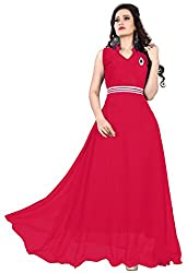 Femeie Apparel Women's A-Line Unstitched Dress (Red)