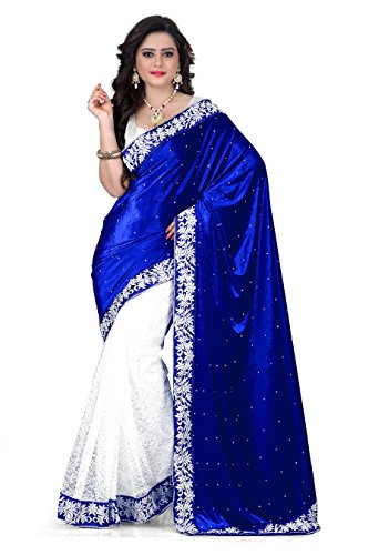 Kesar Sarees Designer Velvet free size saree for Women(Blue)