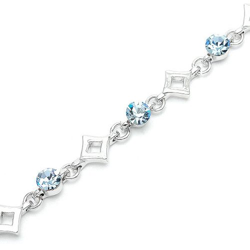Perfect Gift - High Quality Crystal Ball & Diamond Bracelet with Blue Swarovski Crystals - 21cm (1480) for Birthday Anniversary Free Standard Shipment Clearance