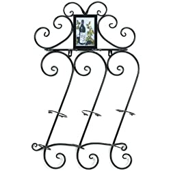 Koehler Home Indoor Celebration Decorative Wine Bottle Hanging Wall Mounted Pretty Scrollwork Rack