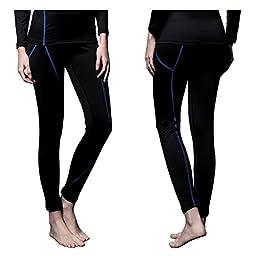 FiteX Womens MAXHEAT Fleece Long Johns Thermal Underwear Bottom Black L