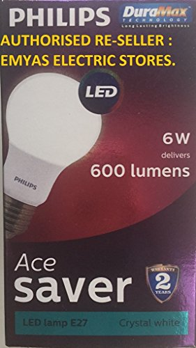 Philips Ace Saver 6W E27 600L LED Bulb (Crystal White, Pack of 6)