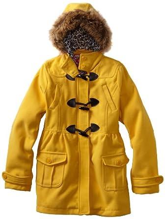 Dollhouse Big Girls'  Wool Toggle Coat With Faux Fur Trim, Marigold, 10/12
