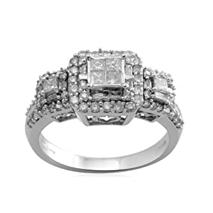 10k White Gold Diamond Engagement Ring (1 cttw, I-J Color, I2-I3 Clarity), Size 6
