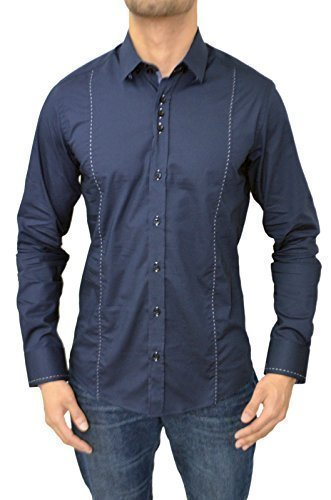 Guide London -  Camicia Casual  -  Vestito modellante  - Maniche lunghe  - Uomo LS.73409 Navy Large