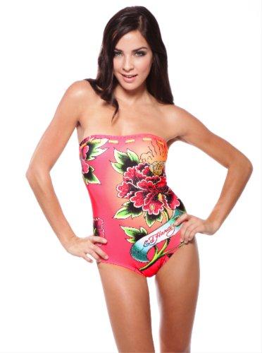 Ed Hardy Diamond Rose Strapless One Piece Swimsuit