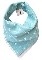 Kishu Baby Bandana Bib, Reversible Nautical Stripe, Unisex, One Size Turquoise Blue